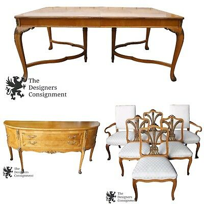 Robert Irwin Crotch Walnut French Louis XVI Dining Suite Buffet Table Chairs Set