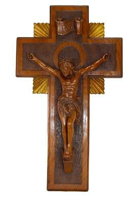 Religious Art Deco French Large Hand Carved Oak Wood Wall Crucifix Cross