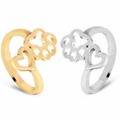 Silver/Gold Women Fashion Stainless Steel Heart Animal Footprints Wedding Rings