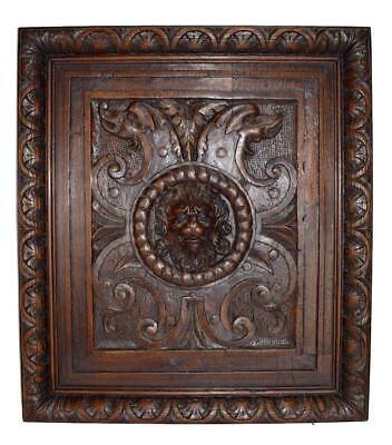 Antique French Renaissance Style Hand Carved Oak Wood Lion Panel 1
