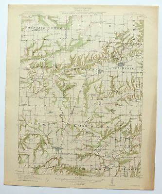 1913 Colchester Illinois Macomb Plymouth Antique USGS Topographic Topo Map