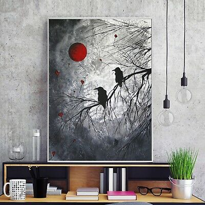 Abstract Black White Art Crow Paint Canvas Poster Modern Decor Unframed A621