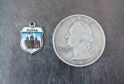 Vintage Sterling Silver Charm - ROMA Rome Italy Italian Country Enameled Shield