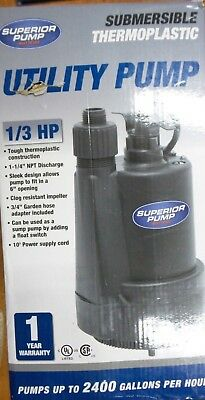 Superior Pump 91330 1/3 HP Thermoplastic Submersible Utility Pump (R713)