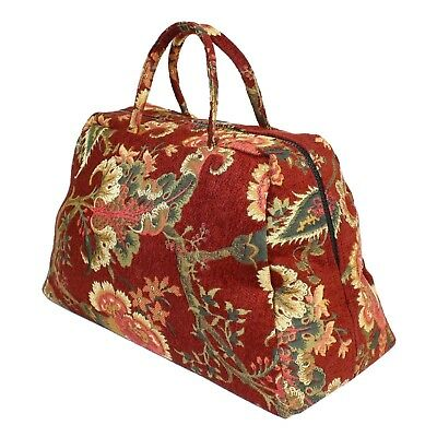 Small Red Deluxe English Nanny Victorian Mary Poppins Carpet Bag Prop Accessory