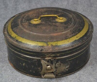 tole tin box spice set toleware painted round complete original 1800 antique