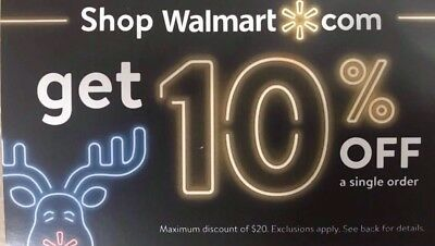 Walmart 10% OFF Online Discount Message Delivery Exp 01-15-2019