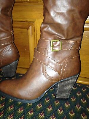 81784b3ce437 Women s Xoxo Brown Knee-High Western Brown Boots Size 7.5M