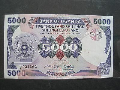 UGANDA 5000 SHILLING 1985 P24a SHILLINGI SHARP 68# CURRENCY BANK BANKNOTE MONEY
