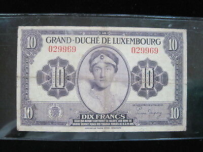 Luxembourg 10 Francs 1944 P44 Wwii 32# World Currency Banknote Money