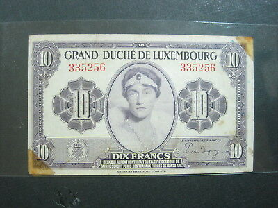 Luxembourg 10 Francs 1944 P44 Wwii 62# World Currency Banknote Money