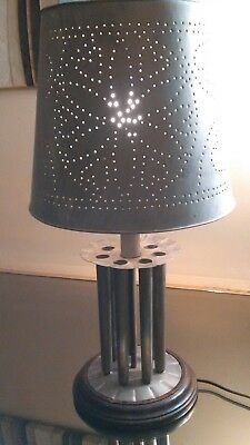Rustic Pierced Tin Primitive Design Heart Shaped Lamp Shade /round Candle Mold