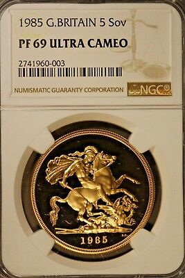 1985 Great Britain 5 Soveregn Gold NGC PF69 UCam    ** FREE U.S. SHIPPING **