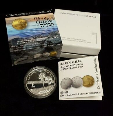 2012 Israel 64th Anniv. Comm. 2 New Sheqalim Sea of Galilee Proof Silver Coin