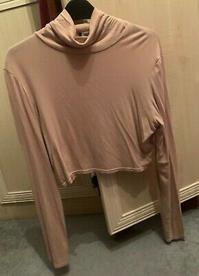 Missguided Women's Girls Turtle Neck Long Sleeved Crop Top Outfit Sand Size 10