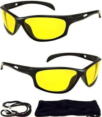 HD Ultra Night Vision Sun Glasses Aviator Mens Womens Yellow Driving View Lens