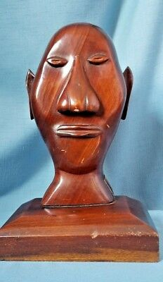 Vintage Hand Carved Wood Man Sculpture African Art Head Statue Bust Ethnic Folk