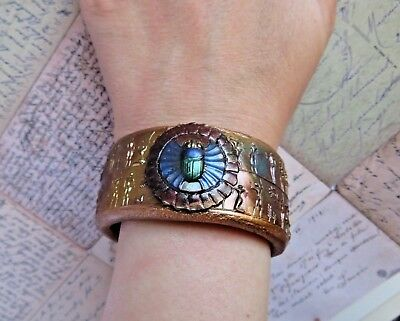 Unique Handmade Ancient Egyptian Scarab Cuff Bracelet/ Antique Gold Bracelet