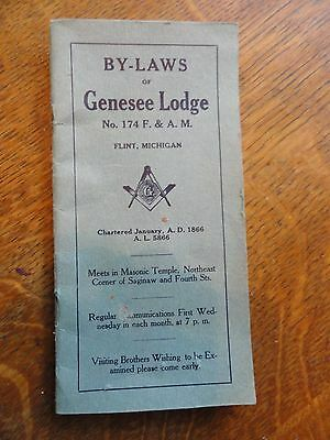 """Old """"By-Laws Of Genesee Lodge, Flint Michigan"""" Masonic Booklet"""