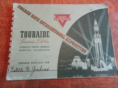 """1939-40 CONOCO (Gas) """"Golden Gate Expositon"""" Touraide Booklet w/Maps - Owner Log"""