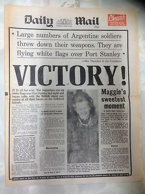 Daily Mail, UK Newspaper. June 15th 1982. Falklands War Victory.