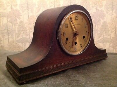 Antique Nelson Hat Clock Westminster Chiming Untested For Repair 27x21x15cm