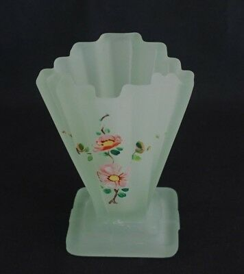 Small Art Deco Frosted Green Glass Stepped Vase Handpainted