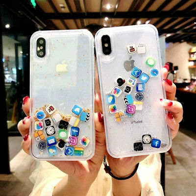 Quicksand Capinha For iPhone 11 Pro Xs Max X 7 Dynamic Liquid Hard PC Case Cover