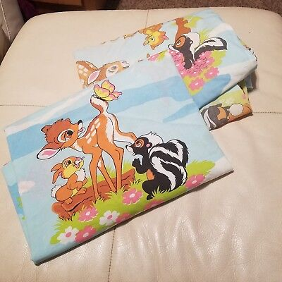 Vintage Disney Bambi Full Size Flat Fitted Sheet Set Fabric Sears Flower Thumper