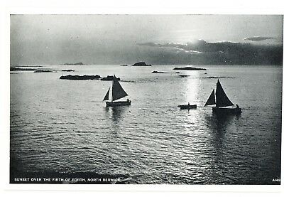 Vintage postcard Sunset Over The Firth of Forth, North Berwick, Scotland