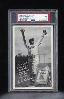 ⚾ 1948 Jackie Robinson OLD GOLD CATCHING BALL Rare Rookie PSA Pop 1/14 + Leaf RP