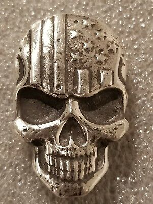 2 oz .999 Silver hand poured Skull art bar memento mori Punisher stars n stripes