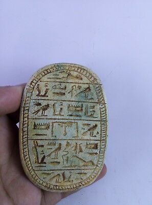 ANCIENT EGYPTIAN ANTIQUE SCARAB Hieroglyphs Beetle Scarabs Carved Stone Bc