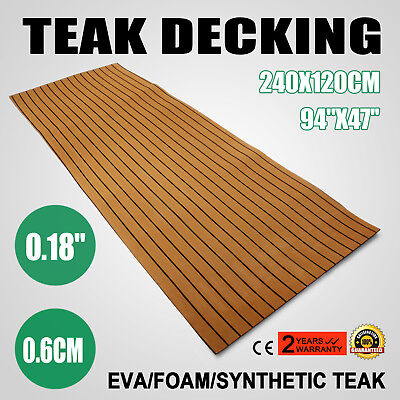 Brown 94x47 Synthetic EVA Foam Teak Sheet Decking Faux Teak 240x120CM
