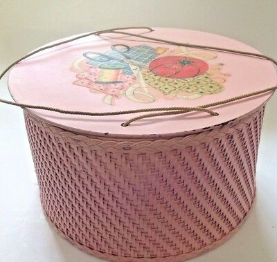 Vintage Sewing Box 1940 Pink Princess Round Wicker