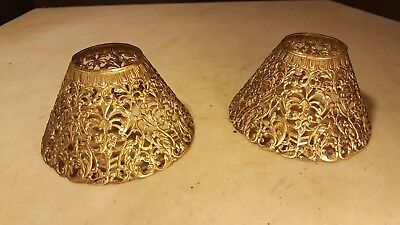 Antique Ornate Metal Lamp Shades Victorian Matching Candle Stand