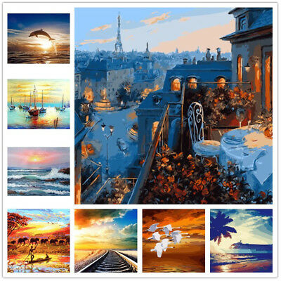 Various Sunset Art Paint By Number Kit DIY Acrylic Oil Painting On Canvas Decor