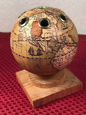 Vintage Mid Century Modern Old World Globe Pencil Pen Holder Wood Base SHIP FREE
