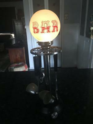 Vintage 1968 Retro Cocktail Bar Set  Working Lamp Post Light /barware (4) Rare