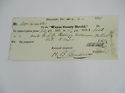 1851 vintage RECEIPT for WAYNE COUTY HERALD NEWSPAPER PENNSYLVANIA PA