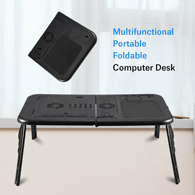 Adjustable Foldable Laptop Desk Table Stand Holder w/ Cooling Dual Fan AU SHIP