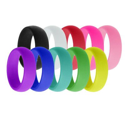 10Pcs Fashion 8mm Wide Flexible Rubber Silicone Wedding Finger Ring Band