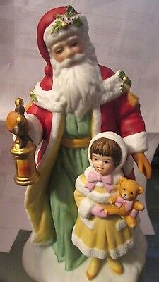 Vintage 1995 Avon Collectible Figure Santa Clause with Girl Christmas