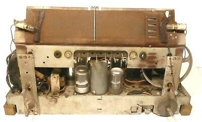 """vintage PHILCO 41-608 RADIO:  Untested CHASSIS w/ 9 """"GOOD"""" TUBES & UPDATED CAPS"""