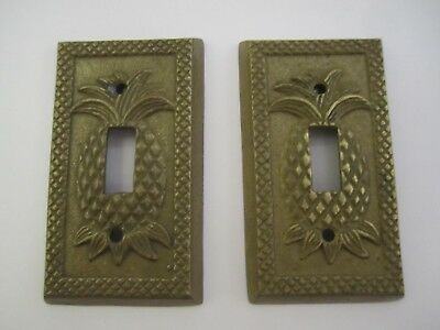 TWO Vintage Brass PINEAPPLE Single Switch Covers - SPI - NEW / OLD STOCK