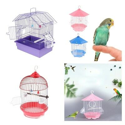 Parrot Bird Cage Budgerigar Canary with Stand Stick & Food Water Bowl Haning Cup