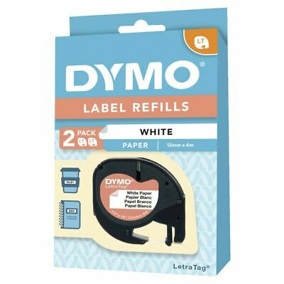 DYMO LetraTag Paper Label Tape 12mm Black on White 2 Pack