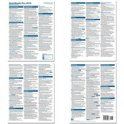 Quickbooks Pro 2016 Quick Reference Training Card - Laminated Tutorial Guide
