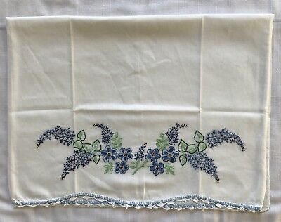 """Vintage Hand Embroidered Pillowcase Standard Blue Floral on White 20"""" X 29"""""""
