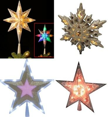 Christmas Tree Topper lighted star top ornament color glitter wall window